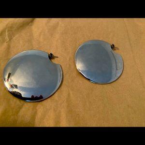 VINTAGE mirrored metallic disc earrings